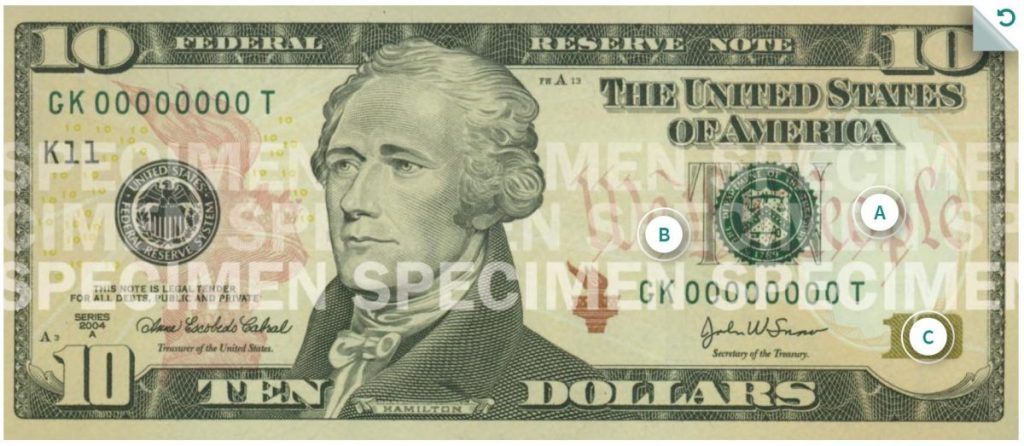 Billete de 10 dolares