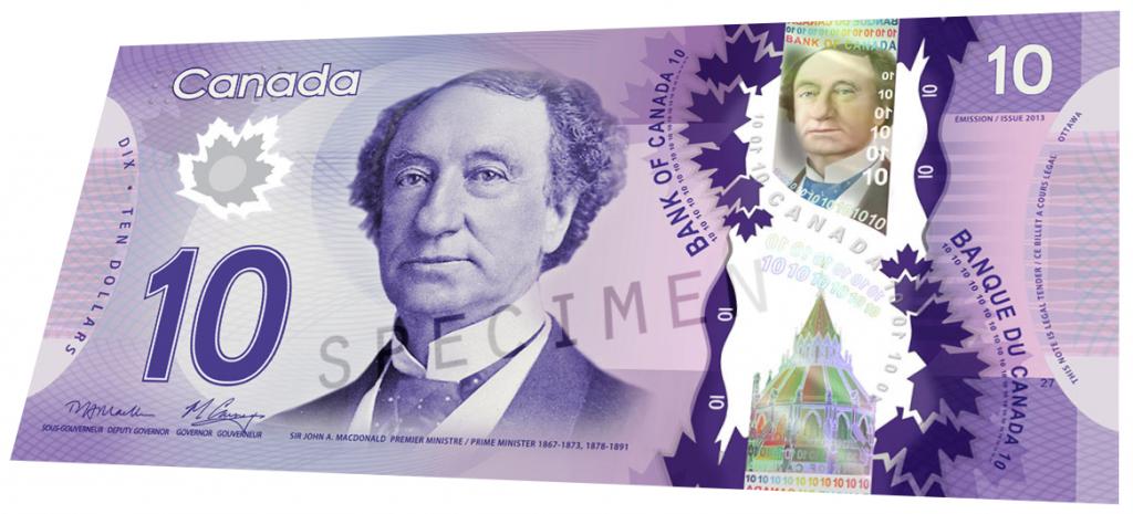 Billete de 10 dólares de Canadá anverso