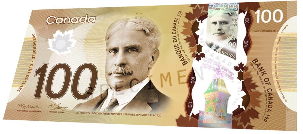 Billete de 100 dolares canadienses