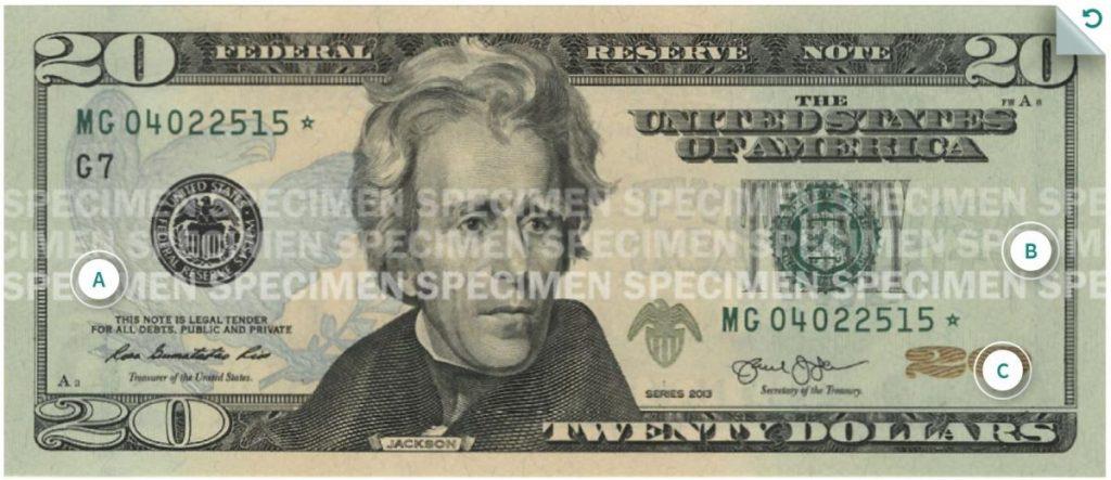 Billete de 20 dolares