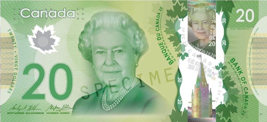 Billete de 20 dolares canadienses