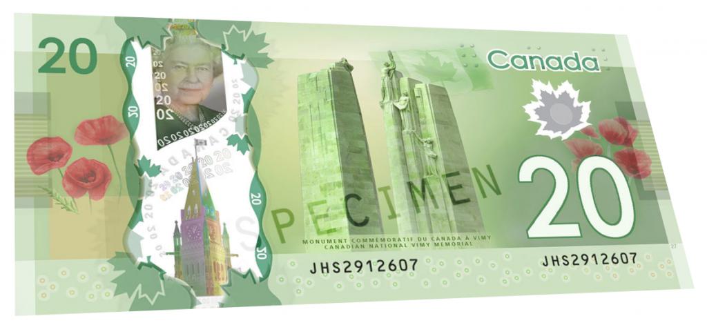 Billete de 20 dólares de Canadá reverso