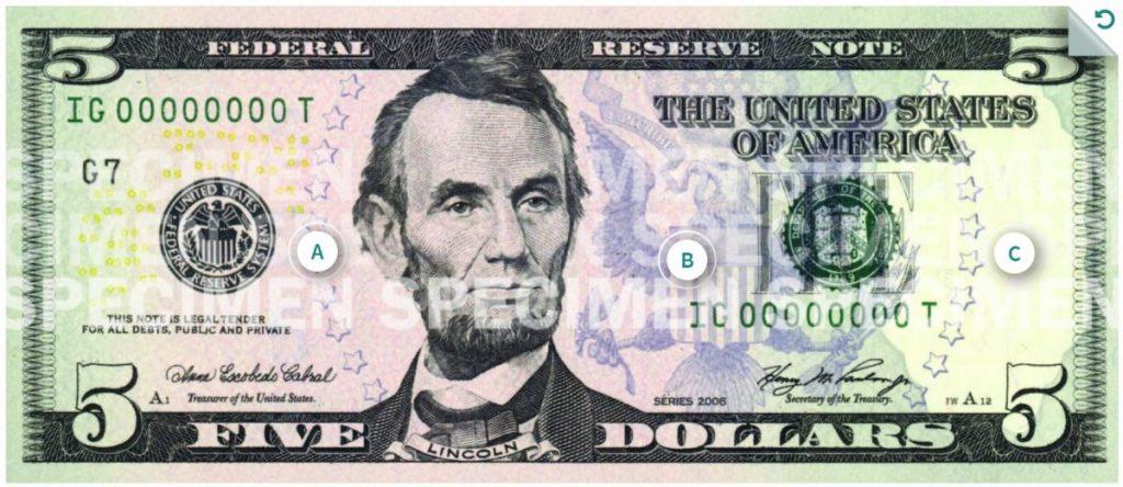 Billete de 5 dolares