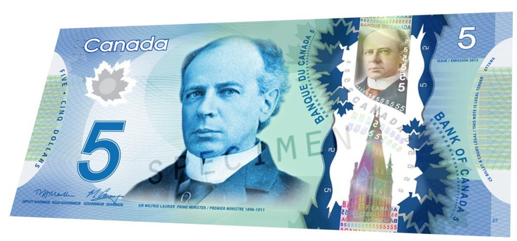 Billete de 5 dolares canadienses