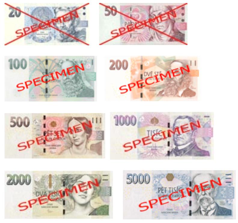 Billetes de coronas checas
