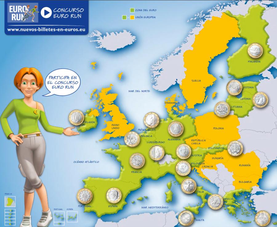 Mapa de países euro