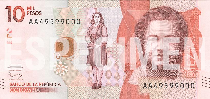 Billete de 10 000 pesos colombianos anverso