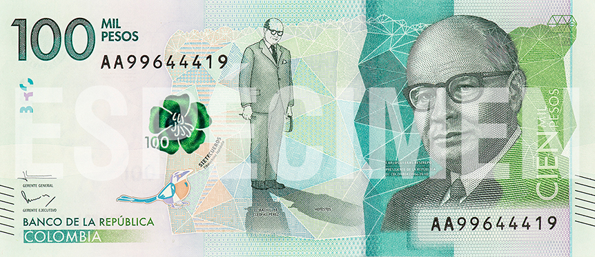 Billete de 100 000 pesos colombianos anverso
