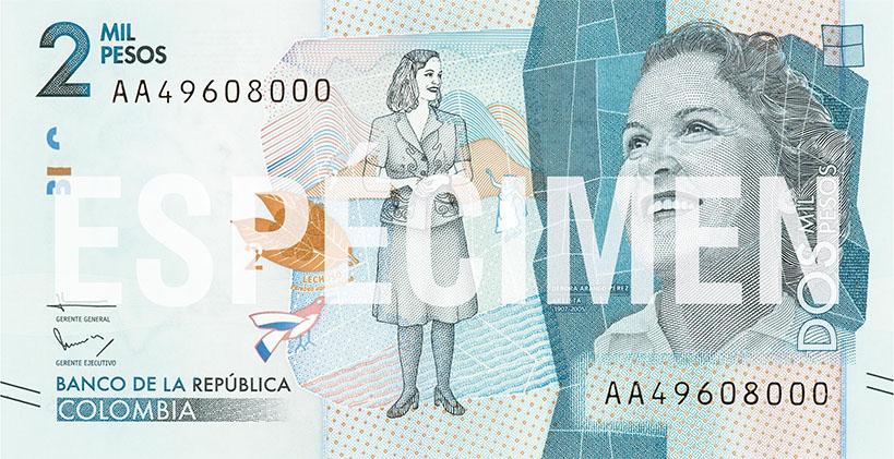 Billete de 2000 pesos colombianos anverso