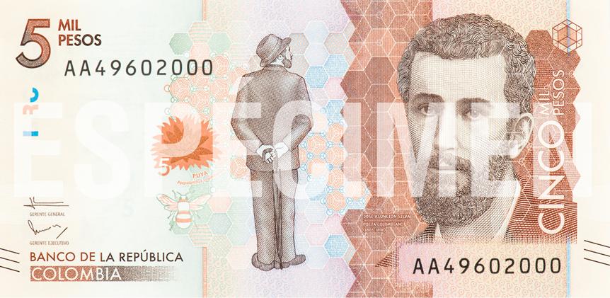 Billete de 5 000 pesos colombianos anverso