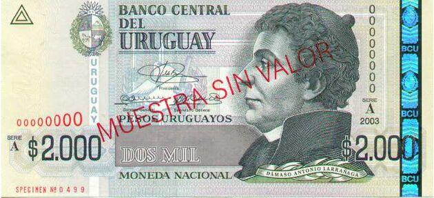 Billete de 2000 pesos uruguayos