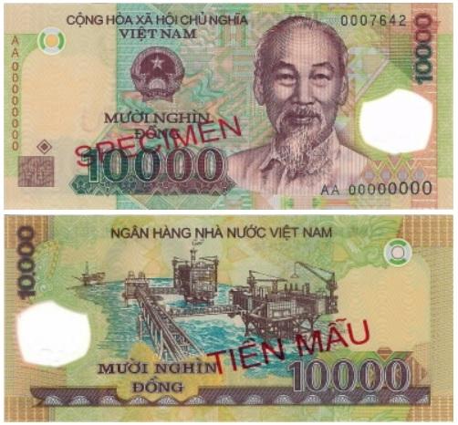 Billete de 10.000 dongs vietnamitas