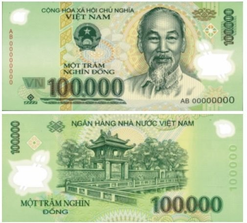 Billete de 100.000 dongs vietnamitas