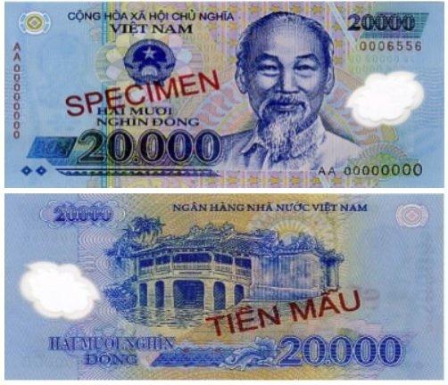Billete de 20.000 dongs vietnamitas