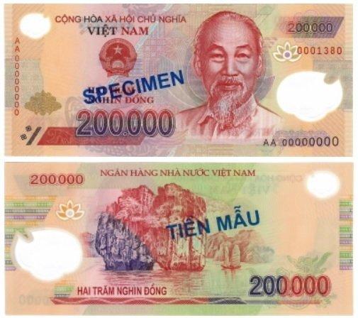 Billete de 200000 dongs vietnamitas