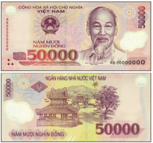 Billete de 50.000 dongs vietnamitas