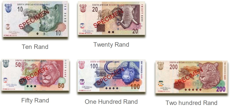 Billetes de rand sudafricano ZAR