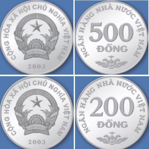 Monedas de 500 y 200 dong vietnamitas