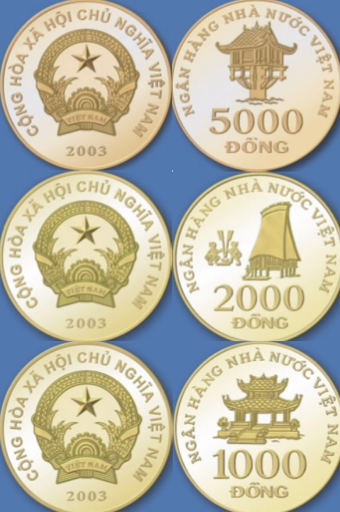 Monedas de 5000 VND 2000 VND y 1000 dóngs vietnamitas