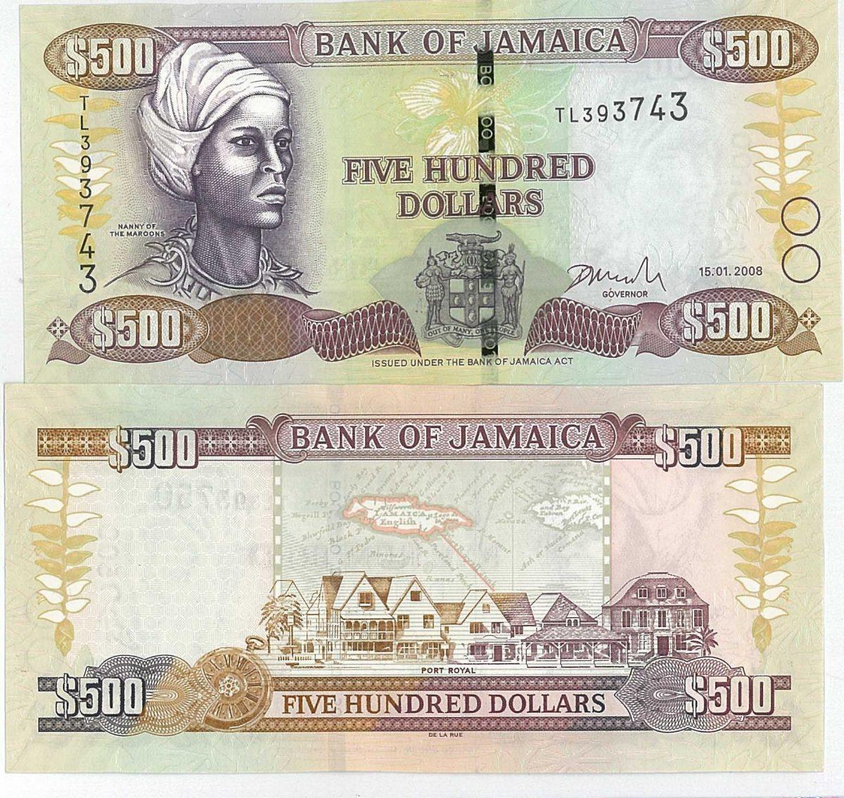Billete de 500 dólares de Jamaica
