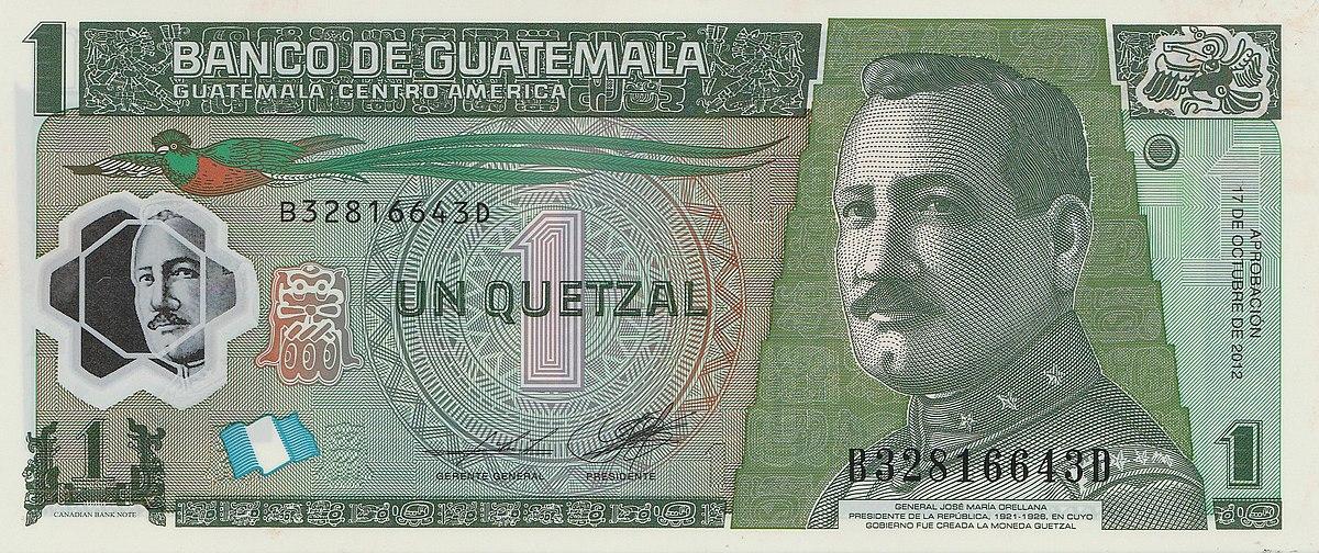 Billete de Q1 quetzal de Guatemala