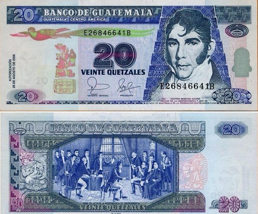 Billete de Q20 quetzal de Guatemala