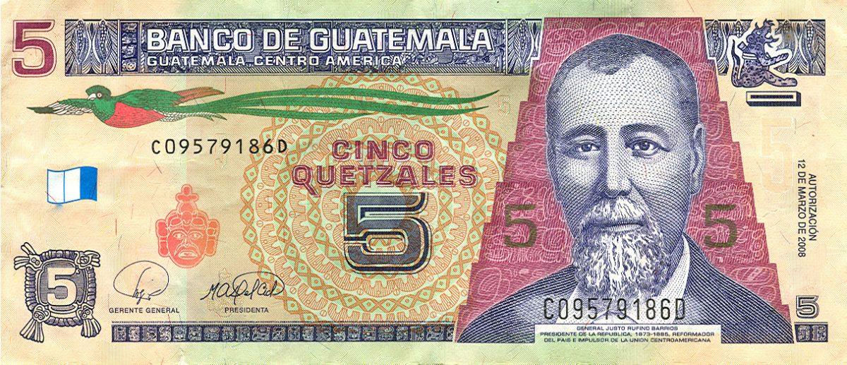 Billete de Q5 quetzal de Guatemala