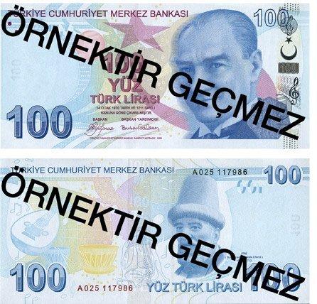 Billete de 100 liras turcas