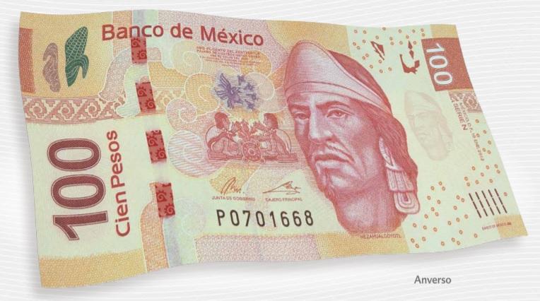 Billete de 100 pesos mexicanos anverso