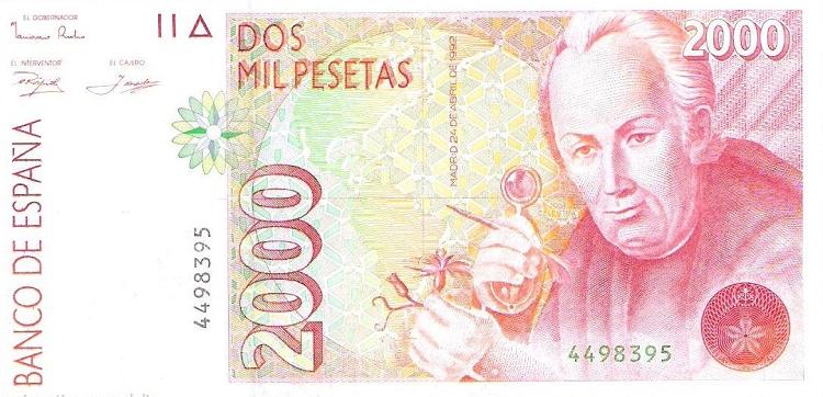 Billete de 2000 pesetas José Celestino Mutis