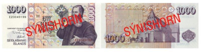 Billete de 1.000 coronas islandesas