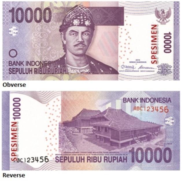 Billete de 10 000 rupias indonesias
