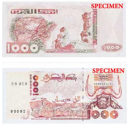 Billete de 1000 dinares argelinos