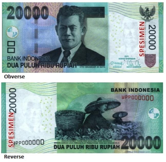 Billete de 20 000 rupias indonesias