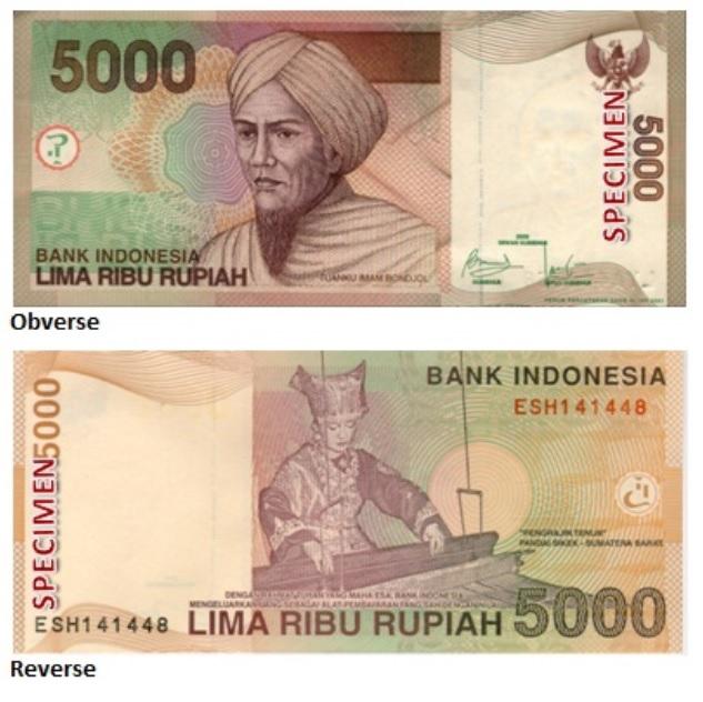 Billete de 5 000 rupias indonesias