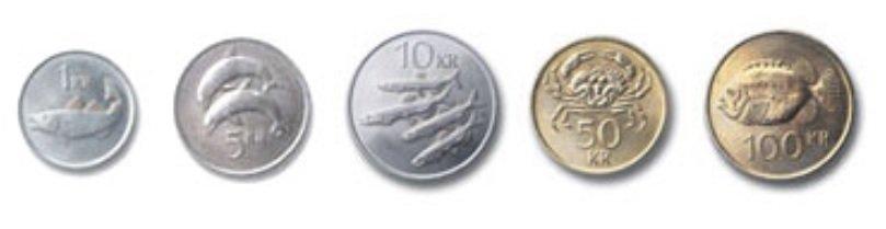 Monedas de corona islandesa en circulación