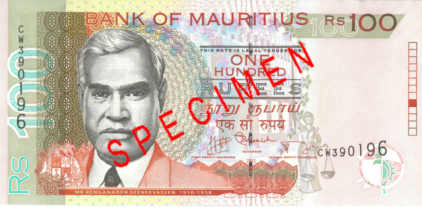 Billete de 100 rupias de Mauricio anverso