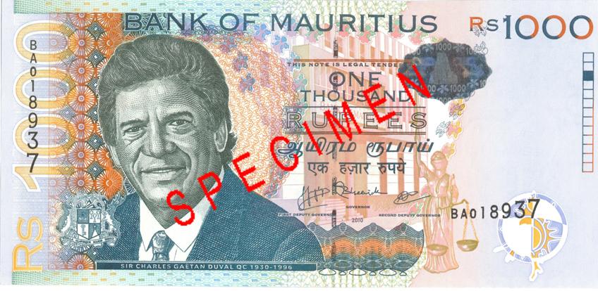 Billete de 1000 rupias de Mauricio anverso