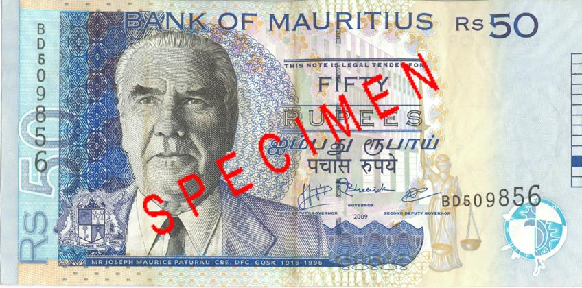 Billete de 50 rupias de Mauricio anverso